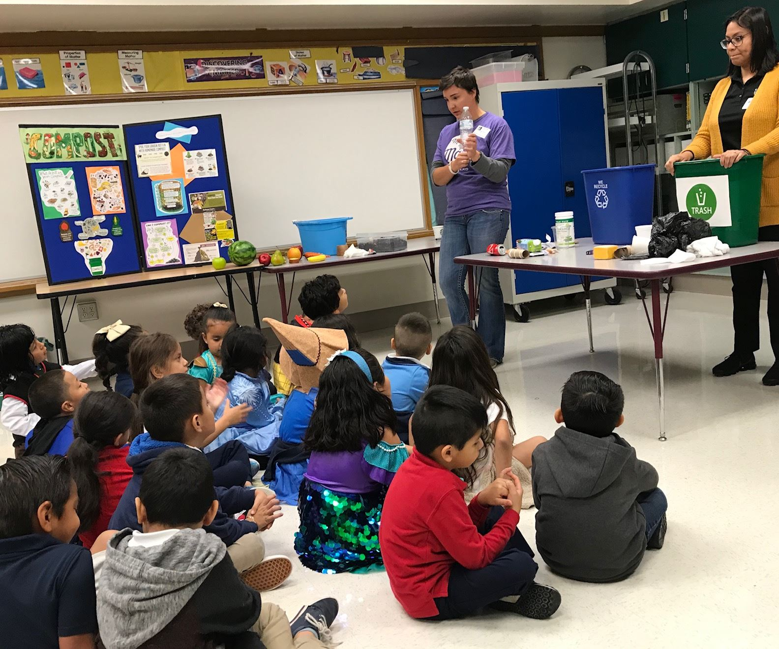 Elementary students learn the difference between trash, recycling and compost from EWS educators