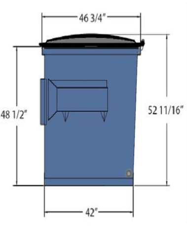Picture of 3 cubic-yard front-load dumpster with dimensions