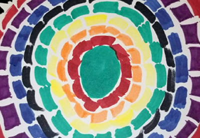 Picture of colored squares in concentric circles for Art Explorers