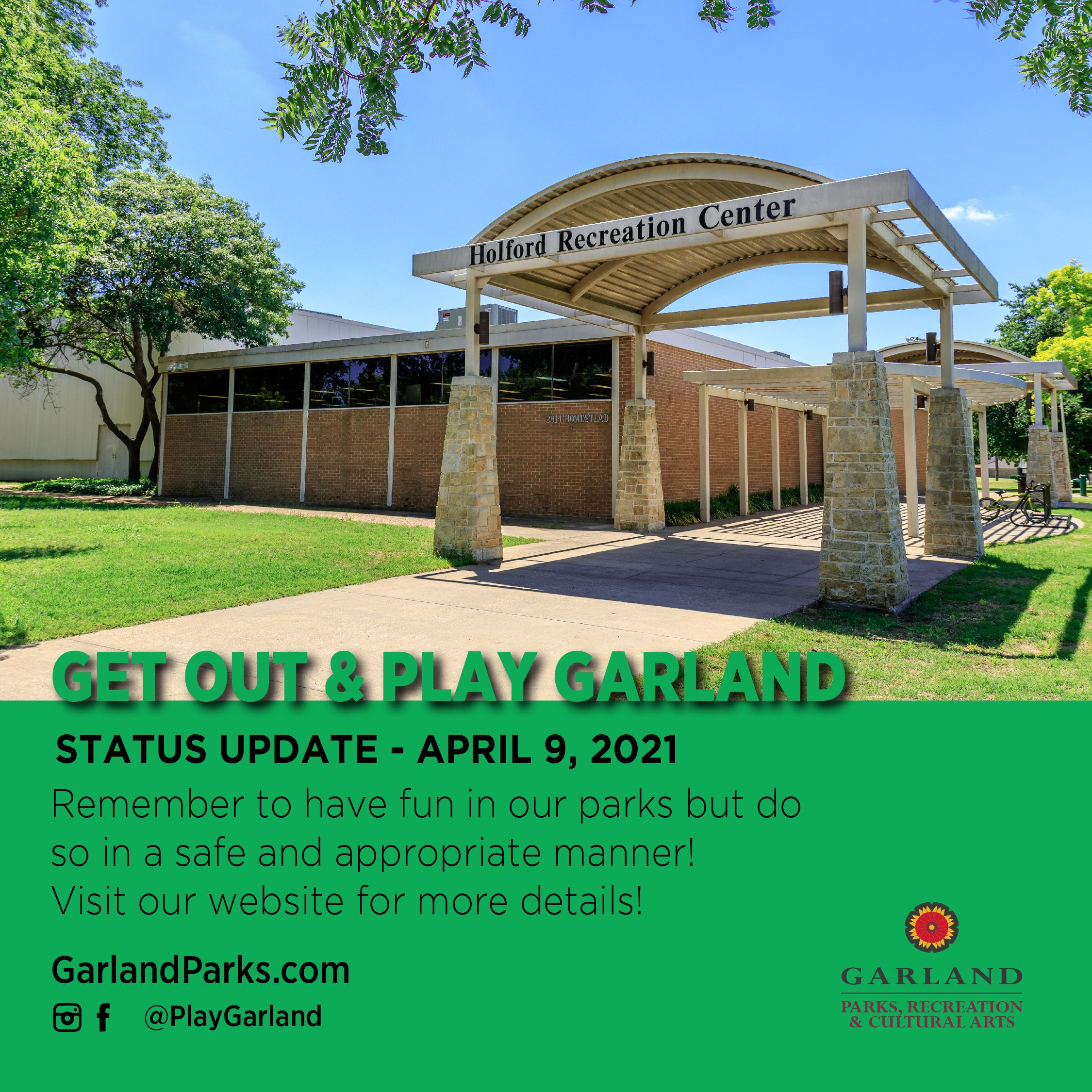 Get Out and Play Update April 9, 2021 - Holford Recreation Center sign